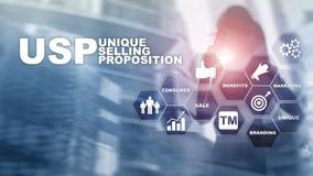 UPS - Propositions de vente uniques Concept d'affaires et de finances sur un écran structuré virtuel Media mélangé images stock
