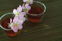 Сups of tea with blossom branch. Сups of tea with blossom pink flowers cherry branch. Selective focus Stock Photo