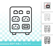 Ups simple black line vector icon. Ups thin line icon. Outline sign of uninterruptible power supply. Box linear pictogram with different stroke width. Simple vector illustration