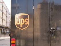 UPS truck. Back view of an UPS truck, lots of copy space Stock Image