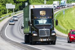 UPS Truck on Interstate Highway Stock Images