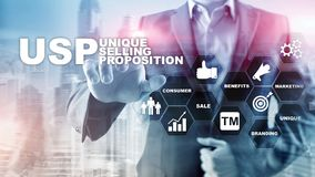 UPS - Unikalne sprzedawanie propozycje Biznesu i finanse pojęcie na wirtualnym zbudowanym ekranie Mieszani środki ilustracji