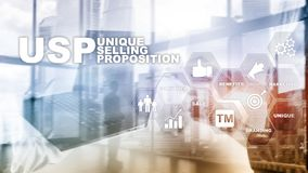 UPS - Unique selling propositions. Business and finance concept on a virtual structured screen. Mixed media. royalty free stock photography