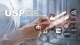 UPS - Unique selling propositions. Business and finance concept on a virtual structured screen. Mixed media. royalty free stock photo