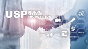 UPS - Unique selling propositions. Business and finance concept on a virtual structured screen. Mixed media. UPS - Unique selling propositions. Business and royalty free stock image