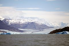 Upsala Glacier view from the Argentino Lake, Argentina. The Upsala Glacier is a large valley glacier on the eastern side of the Southern Patagonian Ice Field royalty free stock photography