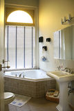 Upscale bathroom with corner tub. Upscale bathroom with corner tub, tiles and window Stock Image