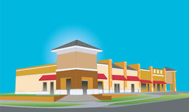Upscale beige strip mall Royalty Free Stock Images