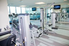 Upscale Gym. Exercise and fitness equipment Royalty Free Stock Photo