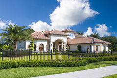 Upscale home. In Central Florida with blue sky royalty free stock photography