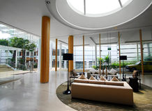 Upscale Hotel Interiors With Skylight Stock Images