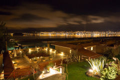 Upscale hotel and Inviting Courtyard and garden at night on Titikaka, Peru in South America Stock Photo