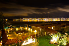 Upscale hotel and Inviting Courtyard and garden at night on Titikaka, Peru in South America Stock Images