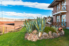 Upscale hotel and Inviting Courtyard  on lake Titikaka, Peru in South America Royalty Free Stock Image