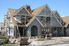 Upscale house under construction royalty free stock images