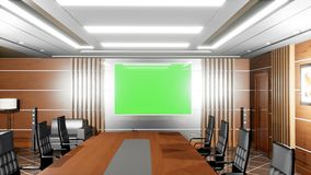 Upscale modern empty office with armchairs, wooden floors, Desk and TV panel with green screen.