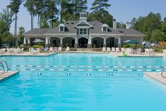 Upscale swimming pool pavilion Royalty Free Stock Photography