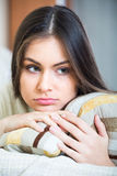 Upset adult girl at home Stock Photography