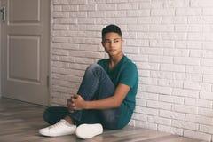 Upset African-American teenage boy royalty free stock photos