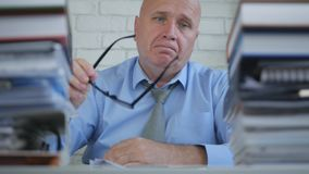 Upset and Amazed Businessman In Blurred Image Working In Accounting Office.  stock images