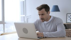 Upset Angry Adult Man Yelling while Working on Laptop. 4k , high quality stock footage