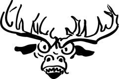 Upset and angry reindeer. Black and white illutration Royalty Free Stock Photos
