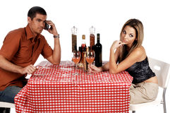 Upset Bistro Couple Stock Photography