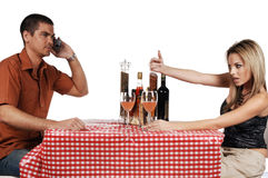 Upset Bistro Couple Stock Images
