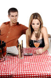 Upset Bistro Couple Royalty Free Stock Image
