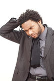 Upset black businessman Stock Photo