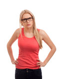 Upset blond woman Stock Photo