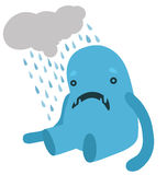 Upset Blue Monster with a Rainy Cloud Stock Image
