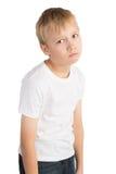 Upset Boy. Seriously upset little boy, isolated stock photography