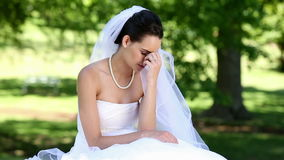 Upset bride crying
