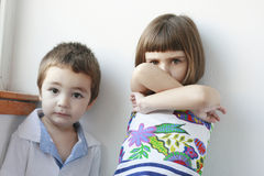 Upset brother and sister Royalty Free Stock Images