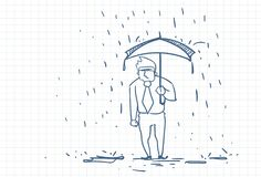 Upset Business Man Wet Under Rain With Umbrella Doodle Over Squared Paper Background. Vector Illustration vector illustration