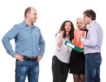 Upset business people with businessman leader on foreground stock photography