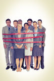 Upset business team fastened with adhesive tape Stock Image