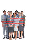 Upset business team fastened with adhesive tape Royalty Free Stock Photography