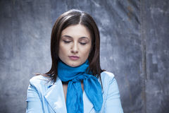 Upset business woman. Sad business woman posing with eyes closed Stock Image