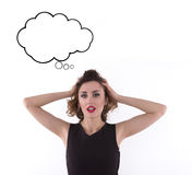 Upset business woman holding her head. Space for text Royalty Free Stock Images