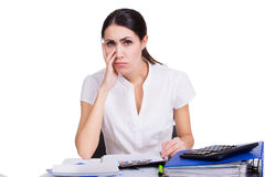 Upset business woman thinking Stock Image