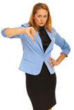Upset business woman with thumb down Stock Photography