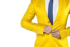 Upset businessman buttons buttoned jacket stock photo