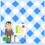 Upset Businessman or Employee with Brief Case Standing by Whiteboard on Stand Illustrating Declining Bar Chart with. Businessman Clerk with Brief Case Standing stock illustration