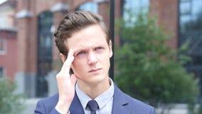 Upset Businessman, Headache and Tension. Creative designer , businessman stock footage