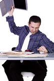 Upset Businessman at His Desk in Suit Stock Photography