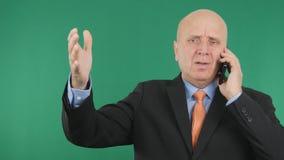 Upset Businessman Image Making Nervous Hand Gestures Talking Bad Financial News.  stock photo