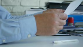 Upset Businessman Inside Office Room Break in Small Pieces a White Paper.  stock footage