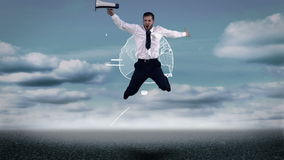Upset businessman jumping in front of animated business plan stock video footage